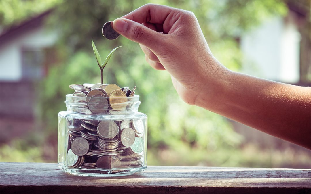 A person places coins in a jar that has a plant sprouting out of it.
